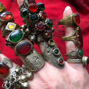 SALE Rare Vintage Afghan Kuchi Banjara Glass Ethnic Tribal Festival Ring Lot of 24