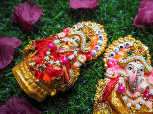Handmade Clay Decorated Lakshmi & Ganesh Shrine Diwali Idol Pair