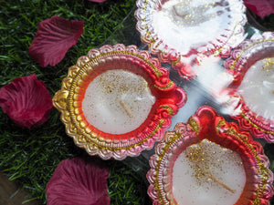 Hand Painted Diwali Clay Diya Set of 4