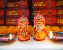 Load image into Gallery viewer, Handmade Clay Decorated Lakshmi & Ganesh Shrine Diwali Idol Pair