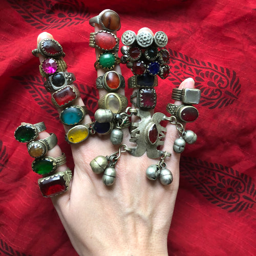*SPECIAL LOT* Vintage Afghan Kuchi Banjara Glass Ethnic Tribal Festival Ring Lot of 24
