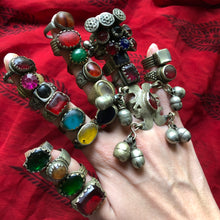 Load image into Gallery viewer, *SPECIAL LOT* Vintage Afghan Kuchi Banjara Glass Ethnic Tribal Festival Ring Lot of 24