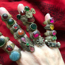 Load image into Gallery viewer, Rare Vintage Afghan Kuchi Banjara Glass Ethnic Tribal Festival Ring Lot of 24