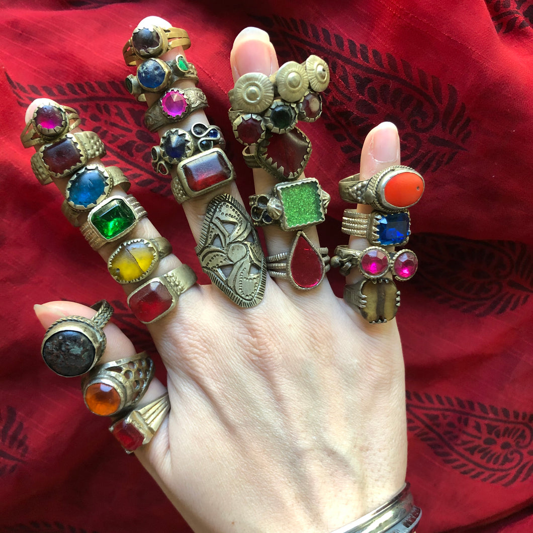 Rare Vintage Afghan Kuchi Banjara Glass Ethnic Tribal Festival Ring Lot of 24