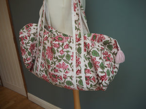 SALE Beautiful Indian Hand Block Printed Floral Quilted Duffle Bag
