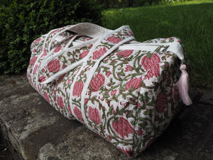 Beautiful Indian Hand Block Printed Floral Quilted Duffle Bag