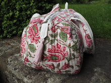 Load image into Gallery viewer, SALE Beautiful Indian Hand Block Printed Floral Quilted Duffle Bag