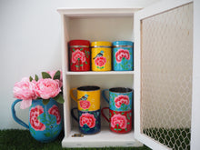 Load image into Gallery viewer, Hand Painted Kashmir Floral Enamelware Tea Sugar Coffee Spice Shabby Chic Tins Canisters Mugs Set Kitchen Cupboard