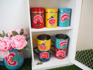 Hand Painted Kashmir Floral Enamelware Tea Sugar Coffee Spice Shabby Chic Tins Canisters Mugs Set Kitchen Cupboard