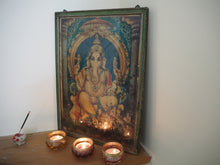 Load image into Gallery viewer, Vintage Hindu Ganesh Framed Devotional Puja Print Lithograph