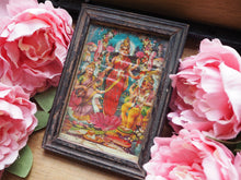 Load image into Gallery viewer, Vintage Small Hindu Ganesh, Lakshmi & Sarasvati Framed Devotional Puja Print Lithograph