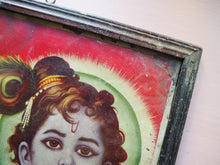 Load image into Gallery viewer, Vintage Hindu Krishna Framed Devotional Puja Print Lithograph
