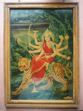Load image into Gallery viewer, Vintage Framed Hindu Durga Devotional Puja Print Lithograph