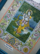 Load image into Gallery viewer, Vintage Hindu Glitter Krishna Framed Devotional Puja Print Lithograph