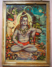 Load image into Gallery viewer, Vintage Hindu Shiva Framed Devotional Puja Print Lithograph