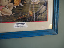 Load image into Gallery viewer, Vintage Hindu Rama Glitter Framed Devotional Puja Print Lithograph