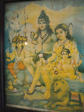 Load image into Gallery viewer, Vintage Hindu Glittered Ganesh, Shiva & Parvati Framed Devotional Love Puja Print Lithograph