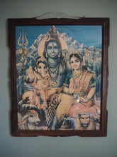 Load image into Gallery viewer, Vintage Hindu Ganesh, Shiva & Parvati Framed Devotional Love Puja Print Lithograph