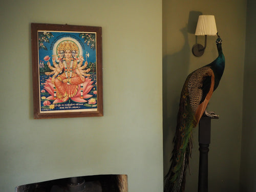 Damaged Vintage Hindu Sri Gayatri Devi Framed Devotional Puja Print Lithograph