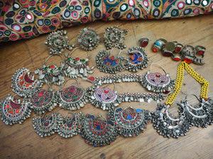 HUGE KUCHI LOT Vintage Afghan Kuchi Tribal Earring Ring Lot