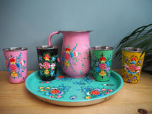 Load image into Gallery viewer, Hand Painted Kashmir Gypsy Floral Enamelware Hippie Shabby Chic Glamping Camping Blossom Flower Pimms Tray Tumbler Jug Pitcher Set
