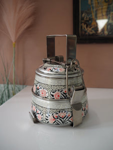 Hand Painted Kashmir Enamelware Floral Kitsch Glamping Small Tiffin