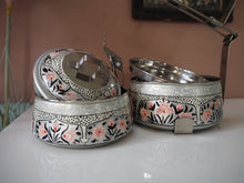 Load image into Gallery viewer, Hand Painted Kashmir Enamelware Floral Kitsch Glamping Small Tiffin