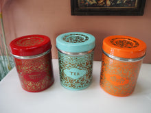 Load image into Gallery viewer, Hand Painted Kashmir Enamelware Floral Kitsch Tea Coffee Sugar Caddy Set x 3