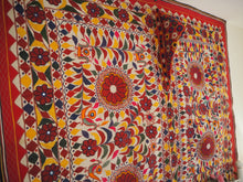 Load image into Gallery viewer, Vintage Indian Gujarat Embroidered Mirrored Sacred Cow Blanket Textile Wall Hanging