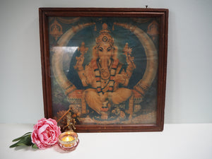 Antique Hindu Ganesh Framed Devotional Puja Print Lithograph
