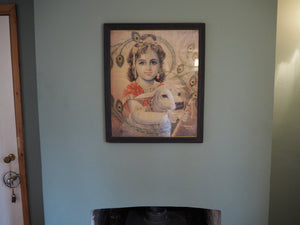 Antique Hindu Krishna Framed Devotional Puja Print Lithograph