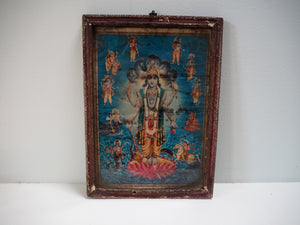 Antique Hindu Vishnu Framed Devotional Puja Print Lithograph