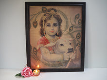 Load image into Gallery viewer, Antique Hindu Krishna Framed Devotional Puja Print Lithograph