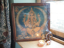 Load image into Gallery viewer, Antique Hindu Ganesh Framed Devotional Puja Print Lithograph