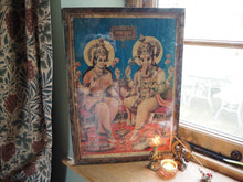 Load image into Gallery viewer, Antique Hindu Ganesh Lakshmi Diwali Framed Devotional Puja Print Lithograph