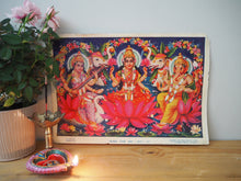 Load image into Gallery viewer, Vintage Hindu Lakshmi Ganesh Devotional Puja Print Lithograph