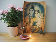 Load image into Gallery viewer, Vintage Hindu Mythological Shiva Framed Devotional Puja Print Lithograph