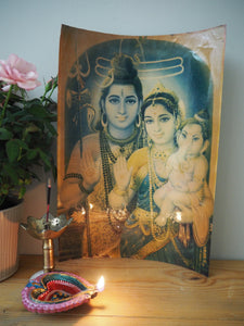 Vintage Hindu Mythological Shiva Framed Devotional Puja Print Lithograph