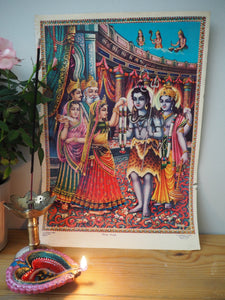 Vintage Hindu Mythological Wedding Shiva Devotional Puja Print Lithograph