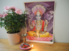 Load image into Gallery viewer, Vintage Hindu Shiva Vishnu Devotional Puja Print Lithograph