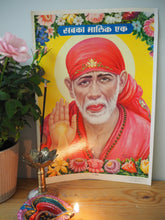 Load image into Gallery viewer, Vintage Hindu Sai Baba Devotional Puja Print Lithograph
