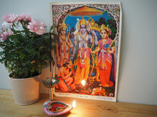 Load image into Gallery viewer, Vintage Hindu Rama Sita Hanuman Devotional Puja Print Lithograph