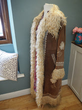 Load image into Gallery viewer, Beautiful Rare Vintage Penny Lane Jimi Hendrix Afghan Coat Embroidered Suede Sheepskin Jacket UK Size 12/14 M/L