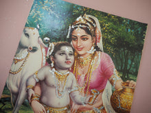Load image into Gallery viewer, Vintage Hindu Glitter Krishna Devotional Puja Print Lithograph