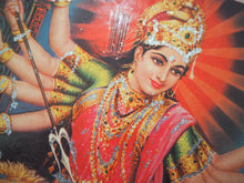 Load image into Gallery viewer, Vintage Hindu Glitter Durga Devotional Puja Print Lithograph