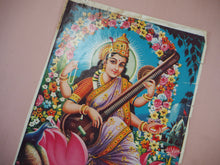 Load image into Gallery viewer, Vintage Hindu Saraswati Devotional Puja Print Lithograph