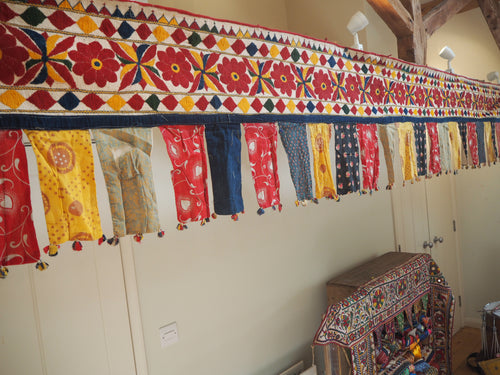 Vintage Indian Gujarati Embroidered Bunting Toran Trim Textile