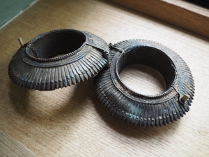 Vintage Rare Indian Tribal Orissa Sawblade Cuff Pair x 2
