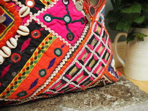 Vintage Patchwork Banjara Indian Mirrored Bohemian Eclectic Scatter Pillow Cushion