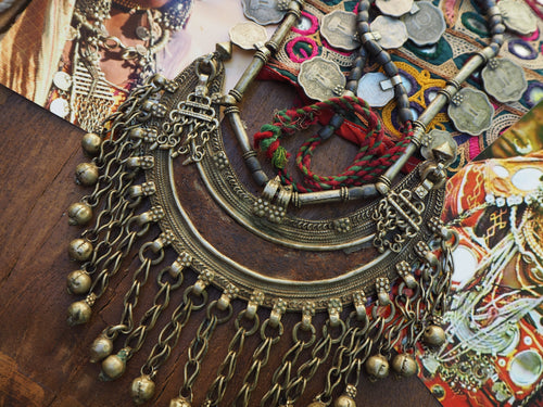 Vintage Rare Indian Tribal Banjara Half Moon Necklace